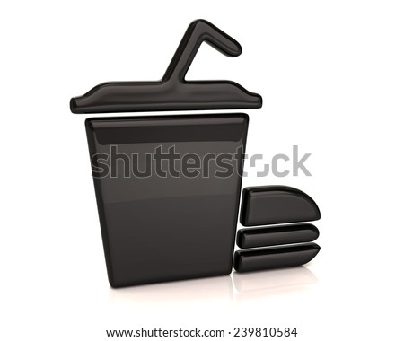 Black fast food icon - stock photo