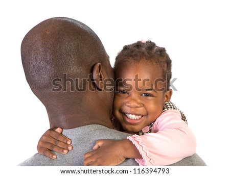 Black Father Holding Daughter on Shoulder Isolated on White Background