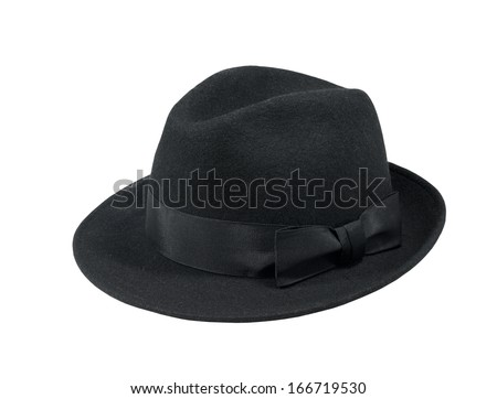 Black felt hat isolated on white background