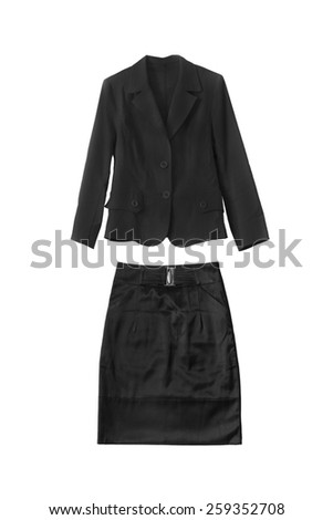 Black female formal suit isolated over white - stock photo