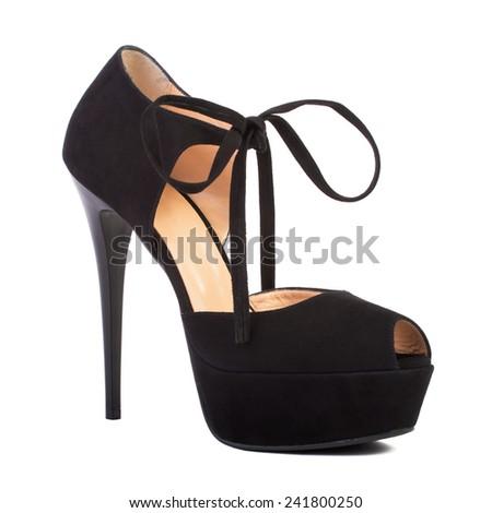 Black female high-heeled shoes isolated on white background - stock photo