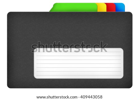 Black file folder illustration with colored bookmarks and blank area isolated over white background - stock photo