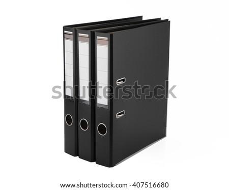 Black files folder, isolated on white background  - stock photo