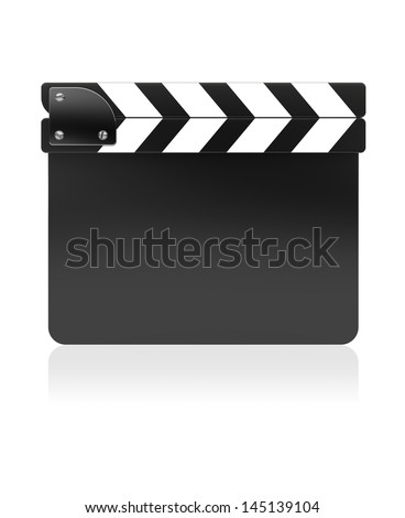 Black film slate clapper on a white background. 3d image - stock photo