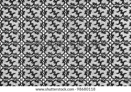 Black fine lace floral texture - stock photo
