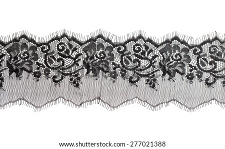 Black fine lace floral texture. Isolate on white. - stock photo