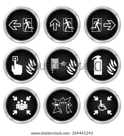 Black fire escape related icon set isolated on white background