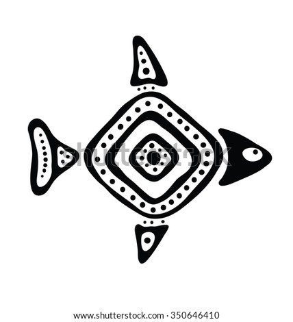 black fish in the native style, illustration