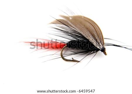 Black fishing bait imitatig a fly - stock photo