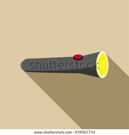 Black flashlight icon in flat style - stock photo