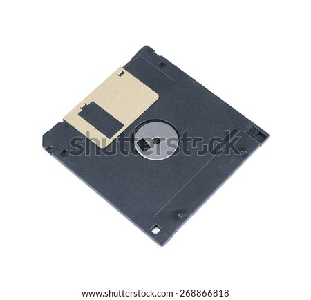 Black Floppy Disc Isolated on white background - stock photo