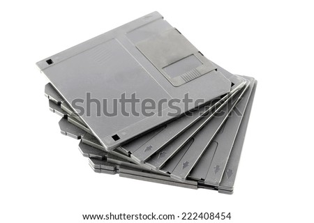 Black floppy disk isolated on white background.