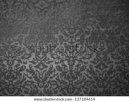 Black floral pattern on background, vintage background texture, - stock photo