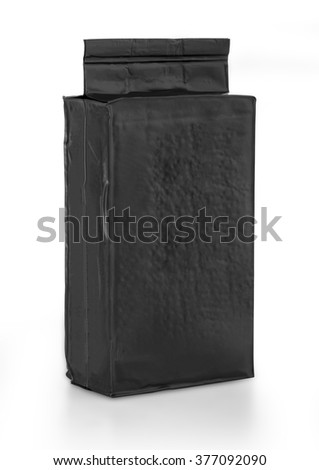 black foil bag pack isolated on white background with clipping path - stock photo