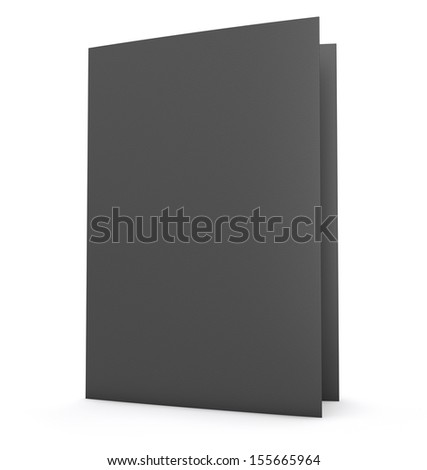 Black folder with paper texture, isolated on white.