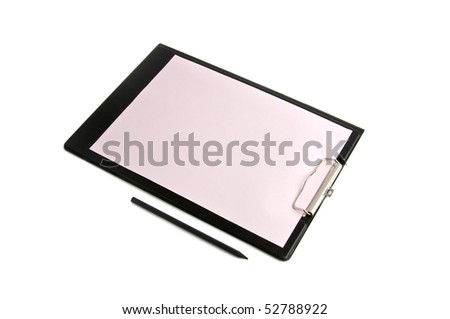 black folder with pink paper and a pencil - stock photo