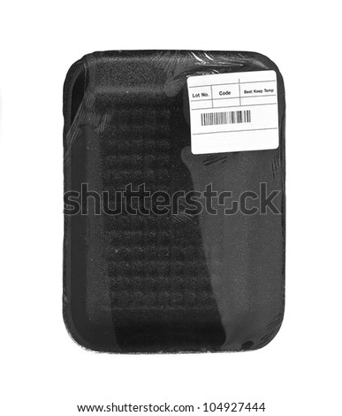 black food tray with label over white - stock photo