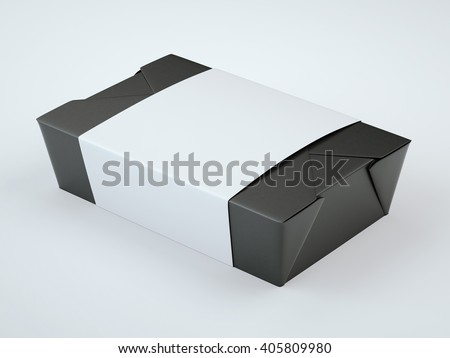 Black foodbox with blank label in bright studio. 3d rendering