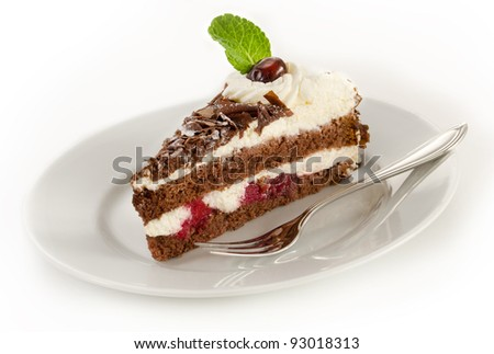 Black forest cake on a plate - stock photo