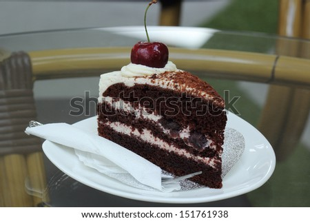 Black Forest Cake on the plate - stock photo