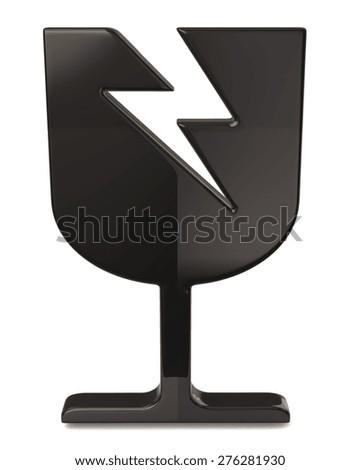 Black fragile icon isolated on white background - stock photo