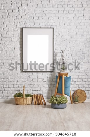 black frame and brick wall decor with wooden floor - stock photo