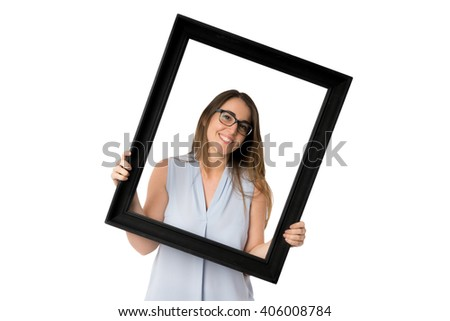 Black frame and woman with glasses holding it - stock photo