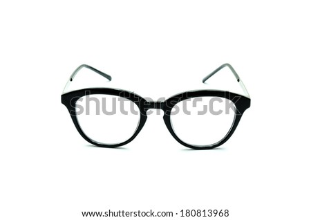 Black Frame Glasses isolated on white background
