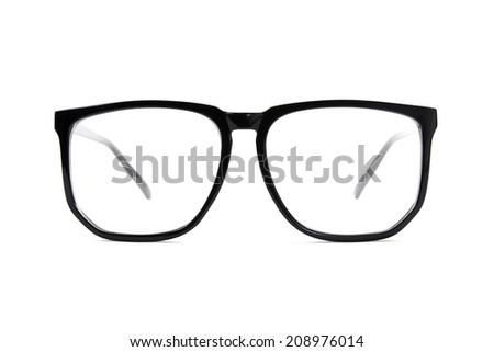 black frame glasses isolated on white background