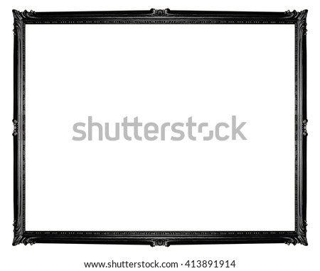 Black frame isolated on white background, clipping path, horizontal.