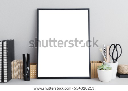 Black Frame Mock Up On Gray Background, Office Supplies, Stylish Scissors,  Small Plant
