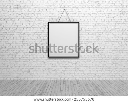 Black frame on white brick wall - stock photo