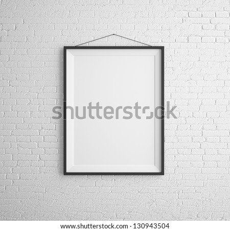 black frames on brick wall - stock photo