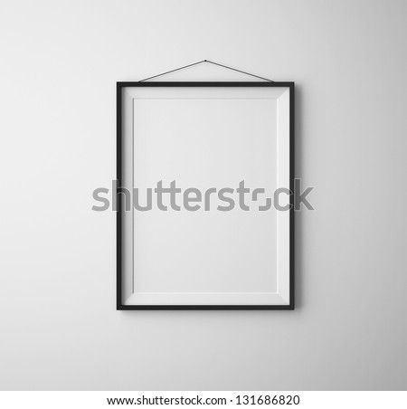 black frames on white concrete wall - stock photo