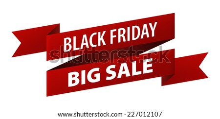 Black Friday Big Sale red tag ribbon banner icon isolated on white background. illustration