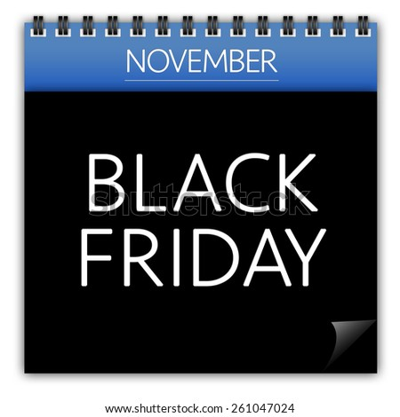 Black friday calendar isolated on white background - stock photo