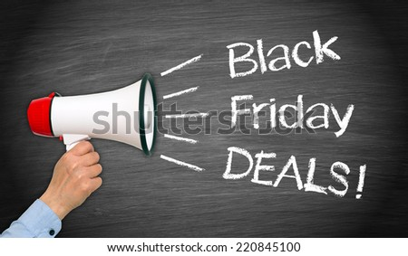 Black Friday Deals - female hand with megaphone on chalkboard background - stock photo