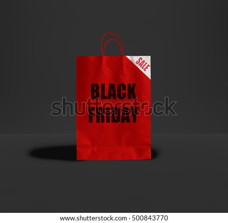 Black Friday paper bag at the different color backgrounds. Promotional concept.
