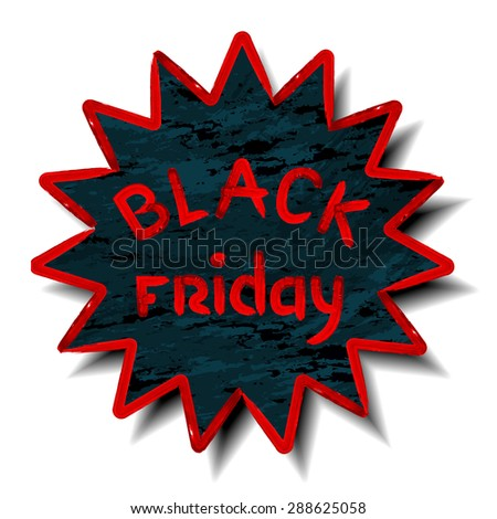 Black friday poster sale made with watercolor brushes. Typography. Raster version - stock photo