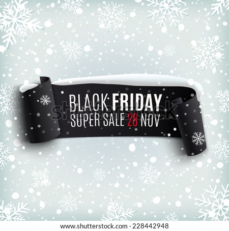 Black Friday sale background with black realistic ribbon banner and snow. Sale. Winter sale. Christmas sale. New year sale - stock photo