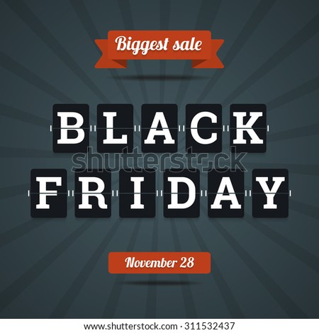 Black friday sale illustration in flat style with mechanical letters.