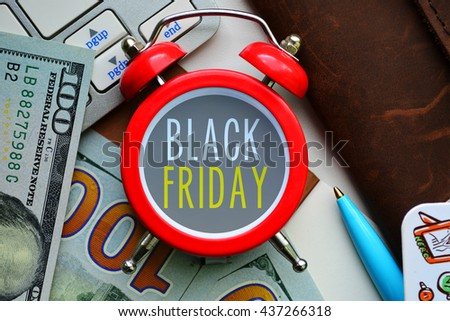 Black friday sale. sign on red clock with cash - stock photo