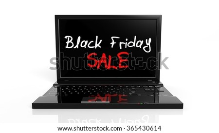 Black Friday Sale text on laptop screen, isolated on white.