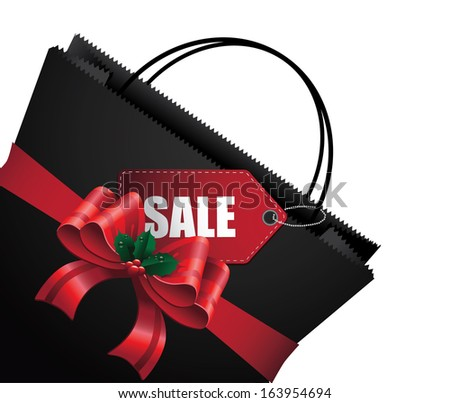 Black Friday shopping bag and sales tag marketing template. jpg. - stock photo