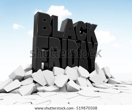 Black Friday Sign Breaking Through Ground. Big Discount Sale Concept. 3D Rendering