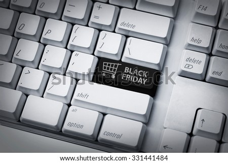 Black friday text and shopping cart on keyboard. Black friday concept