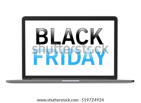 Black Friday text on laptop screen, isolated on white.
