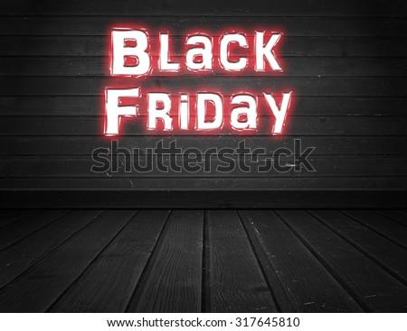 Black Friday written on wall - stock photo