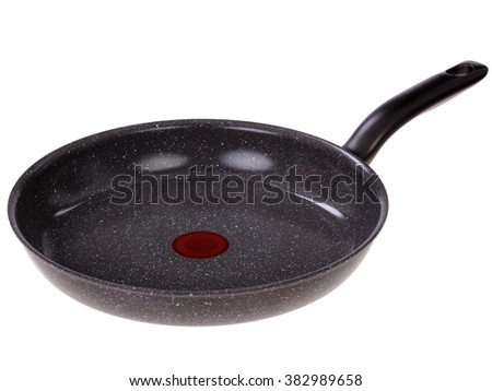 black frying pan. Isolated on a white background