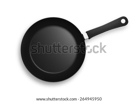 Black frying pan with plastic handle. Isolated on a white background with shadows and clipping path.